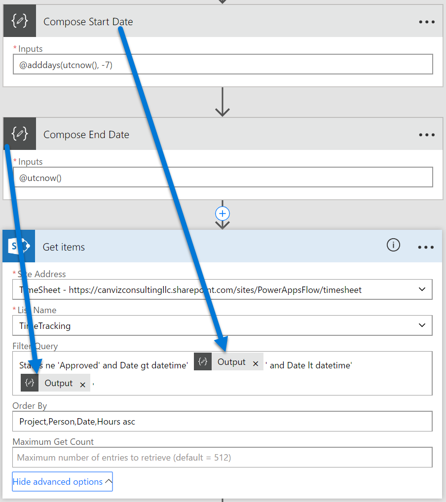 Use dynamic ODATA Filter values in a Microsoft Flow SharePoint