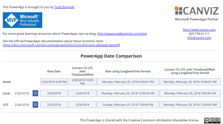 Working with Local and UTC Dates and Times in PowerApps